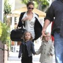 Angelina Jolie takes her twins Knox and Vivienne shopping with their grandmother on February 27, 2012 in Beverly Hills
