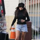 Naya Rivera in Denim Shorts at a gas station in LA