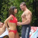 Roxanne Pallett and boyfriend Jason Carrion were seen at a pool party in Manhattan - 454 x 696