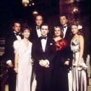 Some of the cast of The Last Tycoon. From left to right: Tony Curtis, Leslie Curtis, Ray Milland, Robert De Niro, Jeanne Moreau, Robert Mitchum, and Theresa Russell