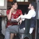Keira Knightley and Adam Levine on Set