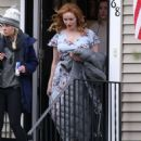 Christina Hendricks – Filming 'The Burning Woman' in Brockton