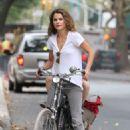 Keri Russell Riding A Bike In Brooklyn