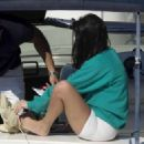 Kourtney Kardashian in White Shorts out in Capri