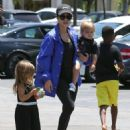 Kourtney Kardashian and her kids Penelope and Reign spotted out for lunch at Corner Bakery with some friends in Calabasas, California on June 13, 2016 - 454 x 590