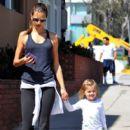 Alessandra Ambrosio And Daughter Anja Mazur Walking In Santa Mon