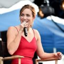 """Actress Caity Lotz speaks onstage during the """"CW Superheroes"""" panel at Entertainment Weekly's PopFest at The Reef on October 29, 2016 in Los Angeles, California - 416 x 600"""