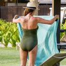 Danielle Lloyd in Green Swimsuit in Dubai - 454 x 669