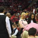 Amber Rose Supporting New Boyfriend James Harden at the Houston Rockets Vs the Portland Trail Blazers at the Toyota Center in Houston, Texas - February 8, 2015 - 454 x 605