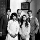 Cast photo for the television program Owen Marshall:Councelor at Law. From left, back-Rene Santori (Danny Paterno), Arthur Hill (Owen Marshall), Lee Majors (Jess Brandon. Front, from left, Joan Darling (Frieda Krause), Christine Matchett (Melissa Marshall