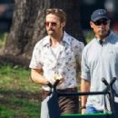 "Ryan Gosling continues to film scenes for the new movie ""The Nice Guys"" on February 3, 2015 in Los Angeles, California"