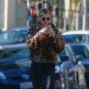 Emma Roberts in Animal Print Jacket – Makes a coffee run in LA