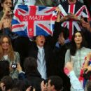 Designer Stella McCartney, Paul McCartney and wife Nancy Shevell cheer on the athletes on Day 8 of the London 2012 Olympic Games at Olympic Stadium on August 4, 2012 in London, England. - 454 x 302