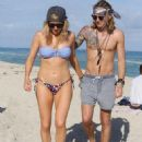 Ellie Goulding with boyfriend Dougie Poynter on Miami Beach January 5,2015 - 453 x 594