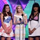 Actresses Lea Michele, Emma Roberts and Keke Palmer poses in the press room during the Teen Choice Awards 2015 at the USC Galen Center on August 16, 2015 in Los Angeles, California