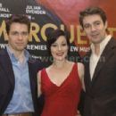 Julian Ovenden (Armand), Ruthie Henshall (Marguerite) and Alexander Hanson (Otto) on stage during a photo call to launch the world premiere of Marguerite, the final production in Jonathan Kent's Theatre Royal Haymarket Season, at the The Pigalle Club, Lon - 454 x 303