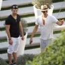 Joe Jonas was spotted hanging at the pool with some friends in Miami, February 19
