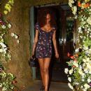 Jourdan Dunn in Mini Dress – Leaving the Ivy Chelsea in London - 454 x 551