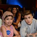 Make A Wish recipient Grace Kesablak and honoree Justin Bieber at the 2014 Young Hollywood Awards,The Wiltern on July 27, 2014 in Los Angeles, California