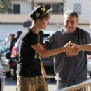 Inked-Up Justin Bieber's Pizza Parlor Stop with Pops
