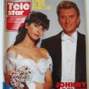 Adeline Blondieau and Johnny Hallyday - Télé Star Magazine Cover [France] (16 July 1990)