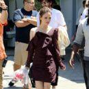 Rachel Bilson – On set of Extra in Los Angeles
