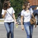 Mandy Moore and Minka Kelly out for some lemonade while wearing matching outfits in Los Angeles, California on September 4, 2014 - 444 x 594