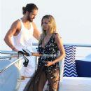 Heidi Klum on a yacht in Sardinia