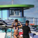 Joan Smalls in Bikini on the beach in Miami - 454 x 671