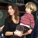 Luciana Gimenez and her 4-years-old son Lucas Jagger at Heathrow airport, London, Britain - 19 September 2003