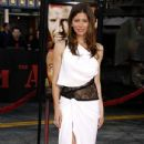 Jessica Biel wearing Grecian style chic on the red carpet at the world premiere of
