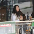 Jessica Biel visited Coffee Bean & tea Leaf with a friend after coming out of the gym - February 5, 2011
