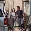 Milla Jovovich – Arriving on set of their new film in Barcelona - 454 x 563