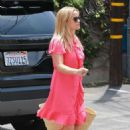 Reese Witherspoon in Red Dress – Visting a skin care clinic in Brentwood - 454 x 681