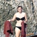 Princess Beatrice in Black Bikini on the boat in Capri