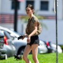 Phoebe Tonkin in Black Denim Shorts in Los Angeles