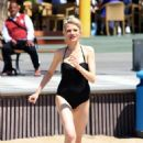 Chloe Jasmine in Black Swimsuit on the beach in Cape Verde - 454 x 694