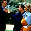 Hugh Laurie, director Ben Elton and Joely Richardson on the set of USA Films' Maybe Baby 2001