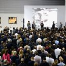 L-r Mark Webber, Christian Horner, Sebastian Vettel, David Coulthard and Adrian Newey speak with the team at the Red Bull Factory on November 27, 2012 in Milton Keynes, England