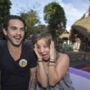 Ryan Sweeting and actress Kaley Cuoco Sweeting take a ride on The Mad Tea Party attraction at Disneyland on February 15, 2014 in Anaheim, California - 454 x 303