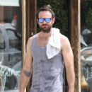 English actor Charlie Cox is spotted working up a sweat after working out in New York City, New York on August 16, 2016