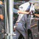 Jennifer Lopez – Heading to Madison Square Garden with a towel on her head in NY