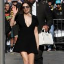 Elizabeth Olsen in Black Mini Dress – Arriving at Jimmy Kimmel Live! in LA