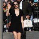 Elizabeth Olsen in Black Mini Dress – Arriving at Jimmy Kimmel Live! in LA