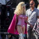 Emmy Rossum – On the set of 'Angelyne' in Los Angeles