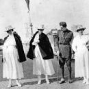 Nurse Agnes von Kurowsky, Ernest Hemingway, and two other American Red Cross nurses at the San Siro horse racing track in Milan, Italy