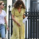 Minnie Driver in Yellow Dress – Out in London - 454 x 680