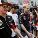 Kimi, Lewis and Seb at Driver Parade 2013 - 454 x 295