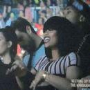 Blac Chyna, Tyga, Kim Kardashian, Kourtney Kardashian, Scott Disick, and Kris Jenner at Kanye West's Concert in Las Vegas - October 25, 2013 - 454 x 318