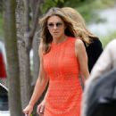 Elizabeth Hurley in Mini Dress Leaves Her Home in London - 454 x 612